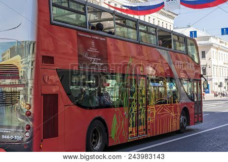 St. Petersburg, Russia - May 27, 2018:  Red Tourist Bus Close Up View. Sightseeing Tourist Bus, Offe