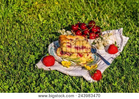 Portion Of Cherry Cake On A Towel With Strawberries On Grass