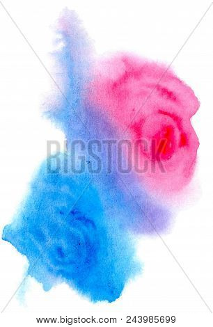 Abstract Blue And Red Spots That Resemble The Shape Of A Rose, Their Flowing, Isolated On White Back