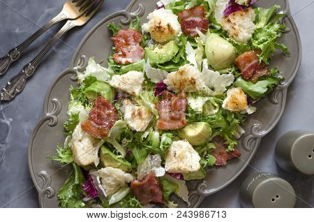 Salad With Avocado Lettuce Bacon And Croutons