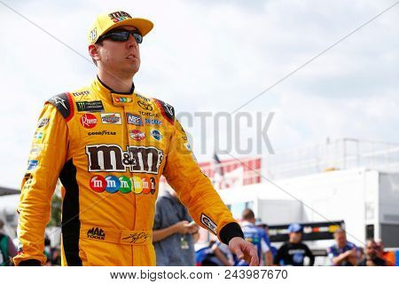 June 01, 2018 - Long Pond, Pennsylvania, USA: Kyle Busch (18) hangs out on pit road before qualifying for the Pocono 400 at Pocono Raceway in Long Pond, Pennsylvania.