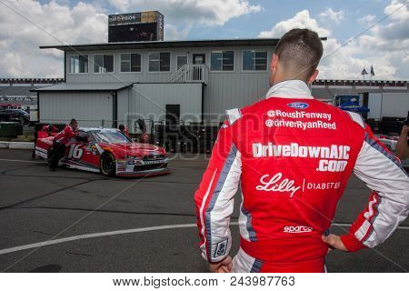 June 01, 2018 - Long Pond, Pennsylvania, USA: Ryan Reed (16) hangs out in the garage during practice for the Pocono Green 250 at Pocono Raceway in Long Pond, Pennsylvania.