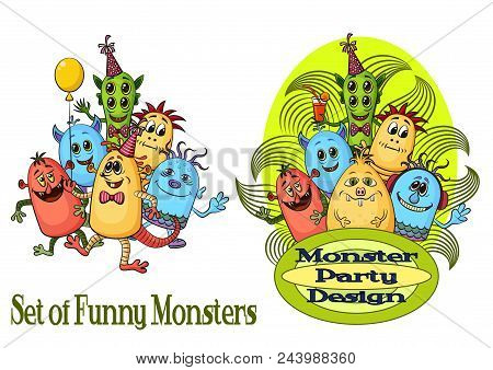 Group Of Funny Colorful Cartoon Characters, Different Monsters For Your Design, Isolated On White. V