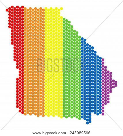 A Dotted Lgbt American State Georgia Map For Lesbians, Gays, Bisexuals, And Transgenders. Color Vect