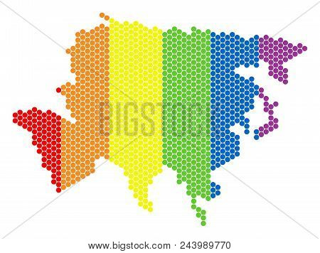 A Dotted Lgbt Asia Map For Lesbians, Gays, Bisexuals, And Transgenders. Rainbow Vector Concept Of As