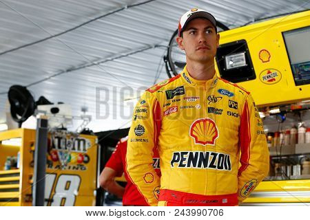June 02, 2018 - Long Pond, Pennsylvania, USA: Joey Logano (22) hangs out in the garage during practice for the Pocono 400 at Pocono Raceway in Long Pond, Pennsylvania.