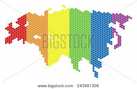 A Dotted Lgbt Eurasia Map For Lesbians, Gays, Bisexuals, And Transgenders. Multicolored Vector Compo