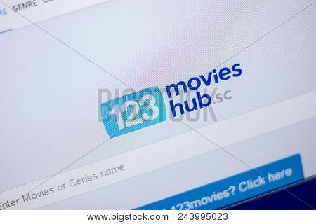 Ryazan, Russia - June 05, 2018: Homepage Of 123movieshub Website On The Display Of Pc, Url - 123movi