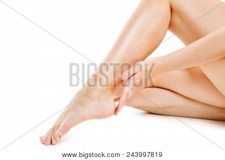 Legs Smooth Skin, Woman Touching Hairless Leg, Female Beauty Care And Hair Removal, Sexy Body Isolat