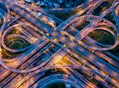 Top view of Highway road junctions. The Intersecting freeway road overpass the eastern outer ring road of Bangkok, Thailand. poster