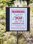 Warning Bear Sign in Grand Teton National Park, Wyoming. poster