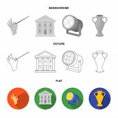 Conductor baton, theater building, searchlight, amphora.Theatre set collection icons in flat, outline, monochrome style vector symbol stock illustration . poster