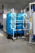 Reverse osmosis system - installation of industrial membrane devices to the purification of drinking water: pumps, pipelines, tanks, etc. poster
