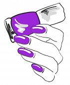 Purple nail polish, manicure, pedicure, gel-varnish, vector illustration poster