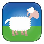Sheep App. Application for counting sheep, as snooze button, for bleating or any similar matter. Comic illustration of a white sheep. poster