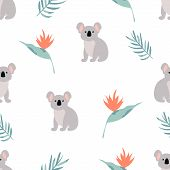 Seamless pattern with cuddly koalas and leaves poster