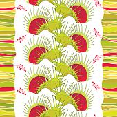 Vector seamless pattern with Venus Flytrap or Dionaea muscipula on the white background with stripes. Background with carnivorous plants in contour style. poster