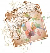 Flying doves on the color paint background of stylized ornament &  orchid flowers. Bitmap copy my vector ID 71330389 poster