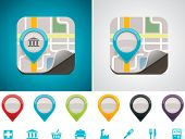 Customizable map location icon poster
