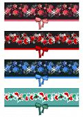 Different Christmas seamless borders with bow poster