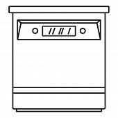 Closed dishwasher icon. Outline illustration of closed dishwasher vector icon for web design isolated on white background poster