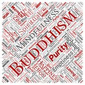 Conceptual buddhism, meditation, enlightenment, karma square red word cloud isolated background. Collage of mindfulness, reincarnation, nirvana, emptiness, bodhicitta, happiness concept poster
