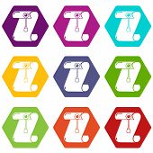 Manuscript and seal message icons 9 set coloful isolated on white for web poster