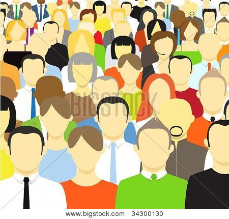 The crowd of abstract people. Vector illustration