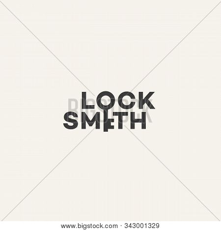 Locksmith Lettering Logo Design Template. Vector Illustration.