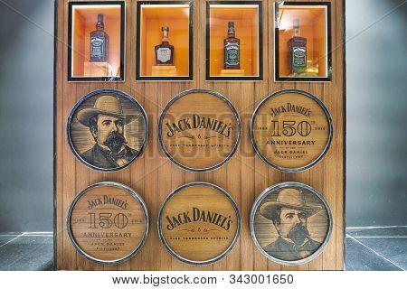DUBAI, UAE - CIRCA JANUARY 2019: Jack Daniel's bottles on display at Dubai International Airport.