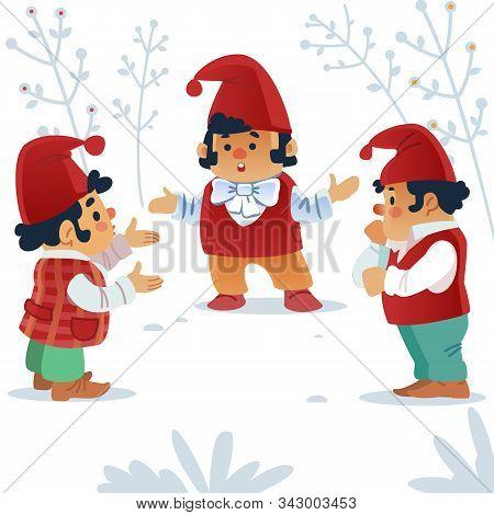 Dwarf. Gnomes. Fairy Tale. Fantastic Character Set. Magical Stories Vector Clip Art