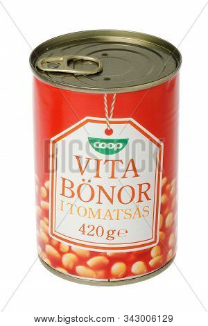 Stockholm, Sweden - November 29, 2019: A Tin Can Of Coop Baked Beans In Tomato Sauce For The Swedish