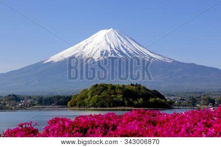 Long Exposure View Of Active Volcano Mountain Fuji In Japan