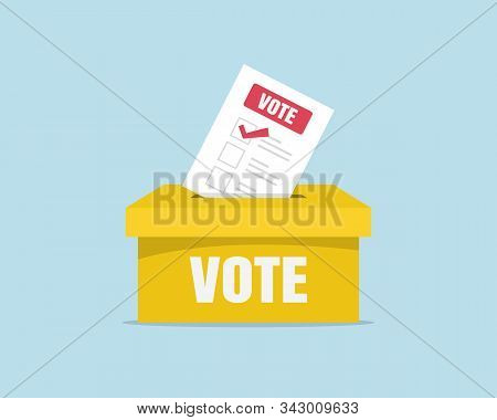 Puts Voting Ballot In Ballot Box. Voting And Election Concept