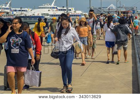 Pattaya,thailand - October 17,2019: Bali Hai This Is A Part Of The Harbor Where Tourists Starting Tr