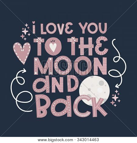 Valentines Day, Moon Greeting Card Template Congratulations, Pink Love Lettering Vector