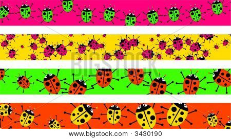 set of four decorative and colourful ladybug beetle page borders poster