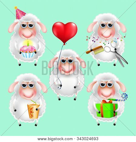 Funny Little Sheep Set On Mint Background. Cartoon Animals With Box, Cake, Heart, Juice, Comb
