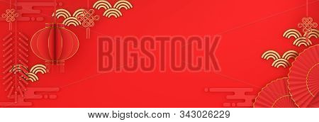 Happy Chinese New Year Background 2020, Year Of Rat, Red And Gold Lantern And Knot Firecracker Hand