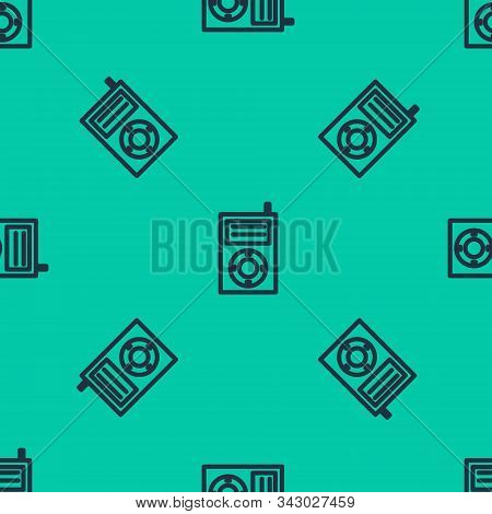 Blue Line Music Mp3 Player Icon Isolated Seamless Pattern On Green Background. Portable Music Device