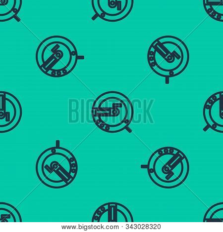 Blue Line Music Cd Player Icon Isolated Seamless Pattern On Green Background. Portable Music Device.
