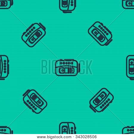 Blue Line Music Tape Player Icon Isolated Seamless Pattern On Green Background. Portable Music Devic