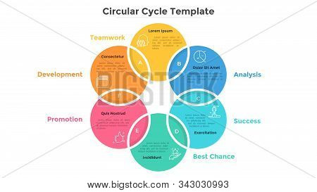 Ring-like Venn Diagram With Six Intersected Colorful Circular Elements. Modern Infographic Design Te