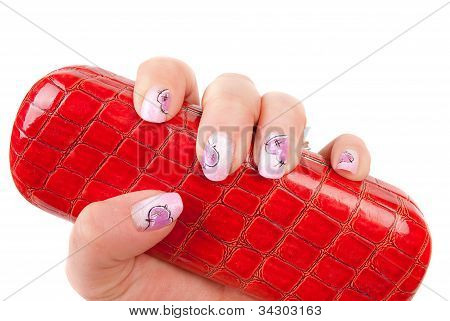 Heand With Pink Pastel Manicure With  Glasses Holder