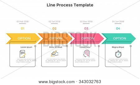 Horizontal Timeline With 4 Square Elements, Arrows And Dates. Four Successive Steps Of Business Proj
