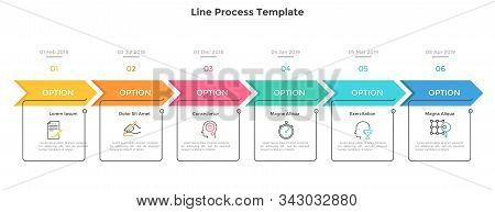 Horizontal Timeline With 6 Square Elements, Arrows And Dates. Six Successive Steps Of Business Proje