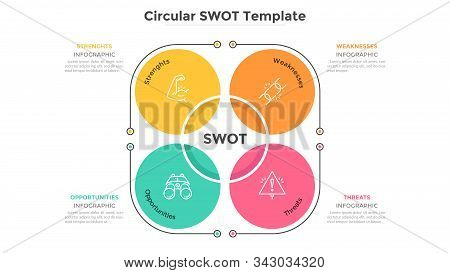 Swot Chart Consisted Of 4 Colorful Round Elements. Advantages And Disadvantages Of Company. Flat Inf