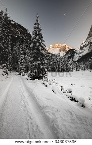 Winter Mountain Landscape At Gosausee With Dachstein, Austria