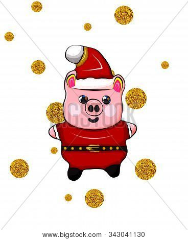Funny Piggy Golden Coins Background. Concept Piggy Money Falling From The Sky Behind Piggy Figure On