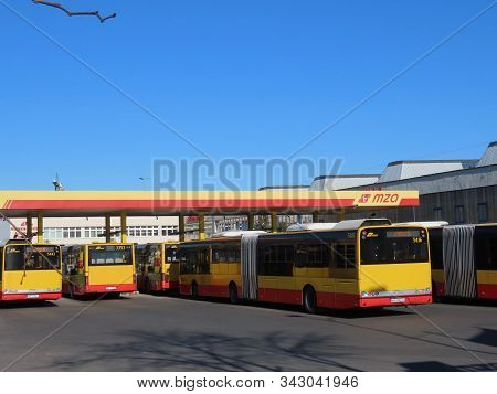 Praga Polnoc, Warsaw, Poland - March 31, 2019: City Bus Enterprise Yard With Yellow And Red Colored